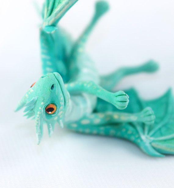 Little Dragon cute figurine fantasy pale green by DemiurgusDreams, $50.00