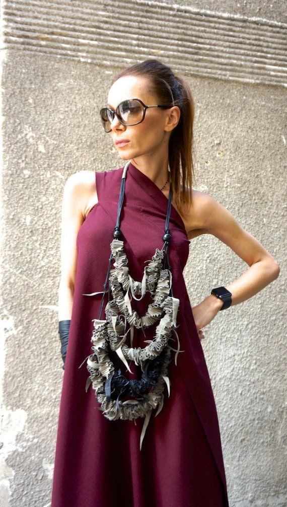 NEUE Kollektion SS/16 schwarz Extravagant echtes Leder Extra lange Halskette / handgemachte Beige und schwarz von AAKASHA A16412 Zubehör