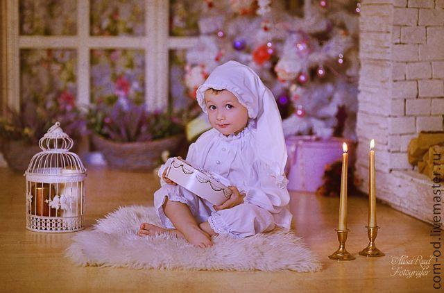Купить рождественская пижамка - белый, однотонный, кружево для отделки, Новый Год, рождество, рождественский декор