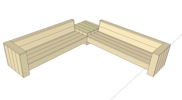 Hoekbank met tafeltje van steigerhout