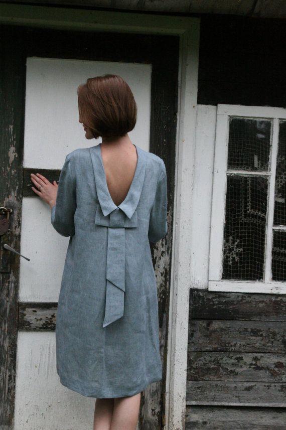 Reines Leinen, knielanges Kleid mit Schleife auf dem Rücken bei Etsy, 85,00 $