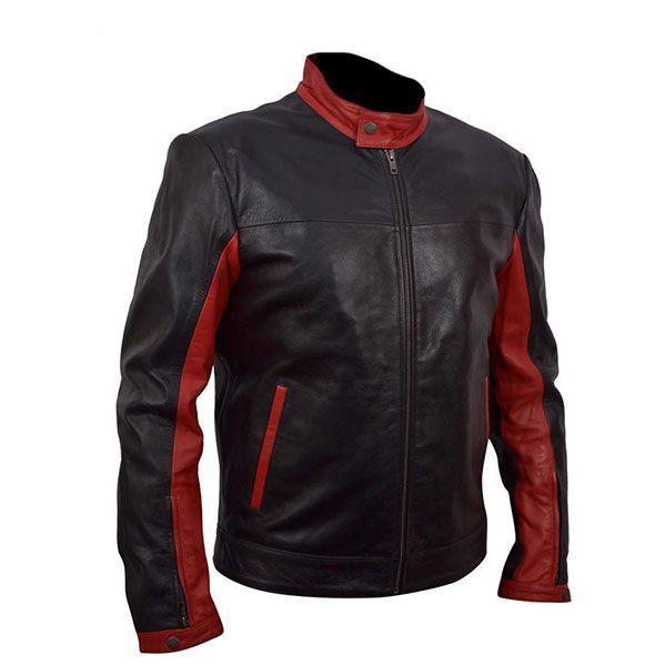 Men Biker Black Jacket Hotline Red