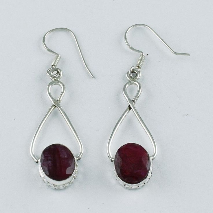 Amazing Quality Ruby Agate Hand Made Designer 925 Sterling Silver Drop Earrings #SilvexImagesIndiaPvtLtd #DropDangle