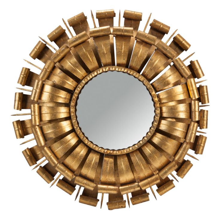 Large Double Layer Metal Frame Sunburst Mirror Light Furniture