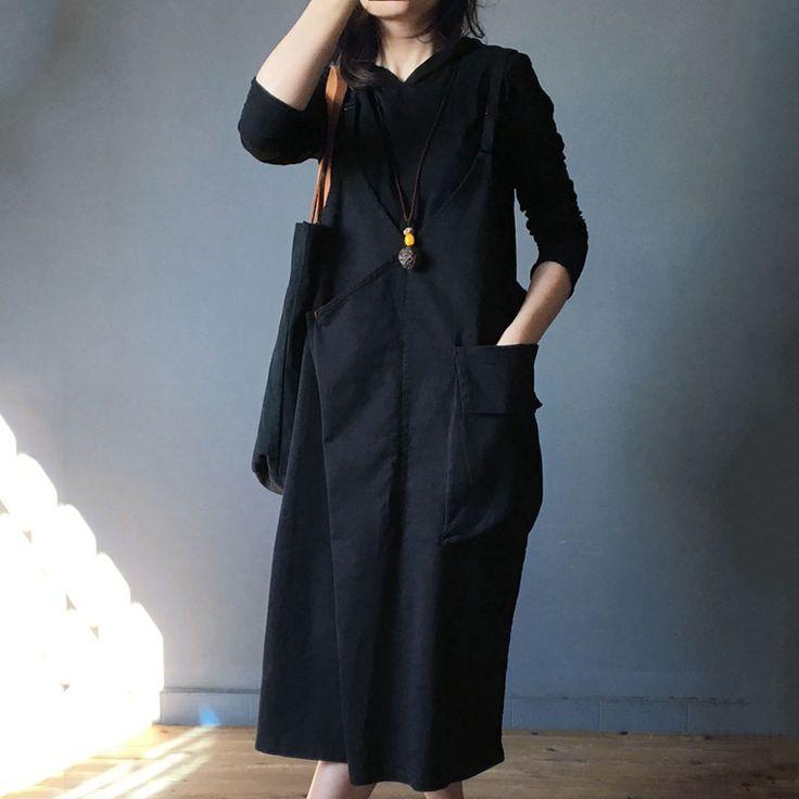 Plunging Neck Big Pockets Jumper Dress Casual Cotton Sundress  #sundress #jumperdress #black #cotton #style #fashion #vneck