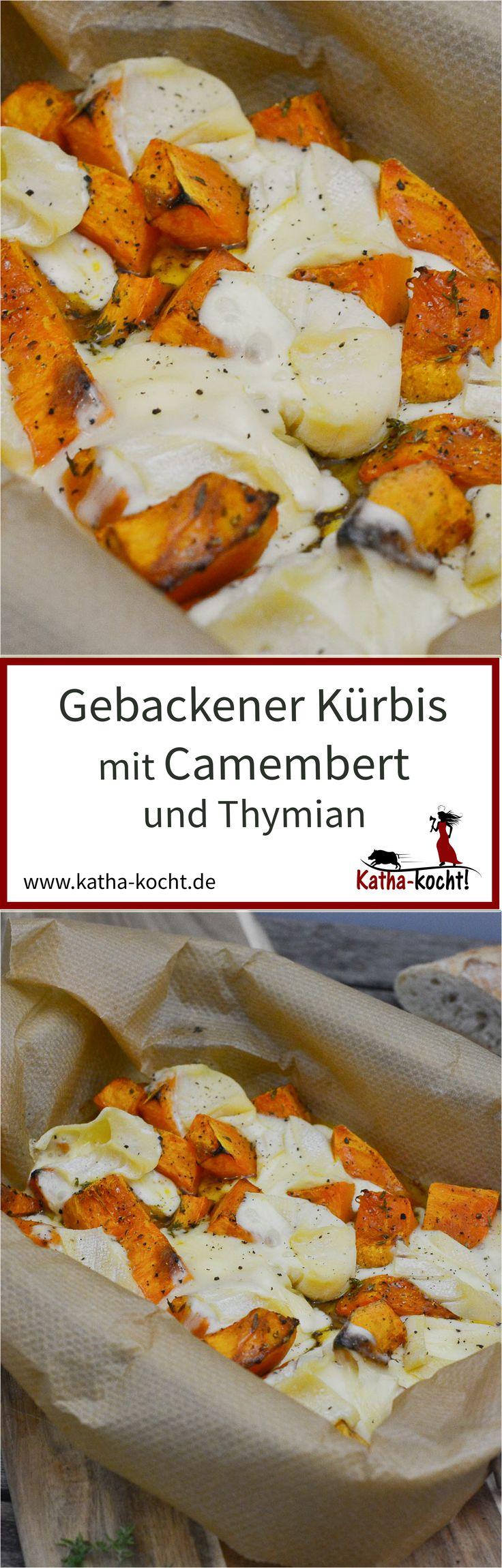 Gebackener Kürbis mit Camembert und Thymian