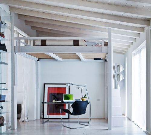 Rising revolutionizes spaces the sleeping loft with electrically adjustable height by cinius - Letto matrimoniale soppalco ikea ...