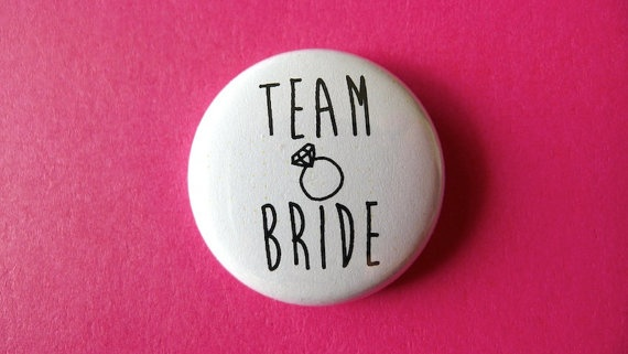 1 Pinback Button  'Team Bride' badge wedding hens by PushButtons, $1.49