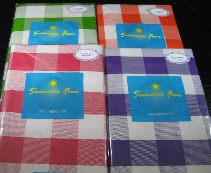 Flannel Back Vinyl Summer Fun Lg. Check Tablecloths   Asst. Sizes Pink
