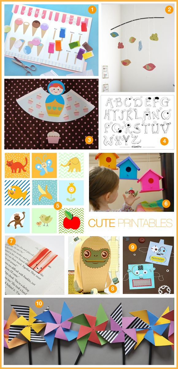 lots of nice printables for kids - love the mobile and pinwheels