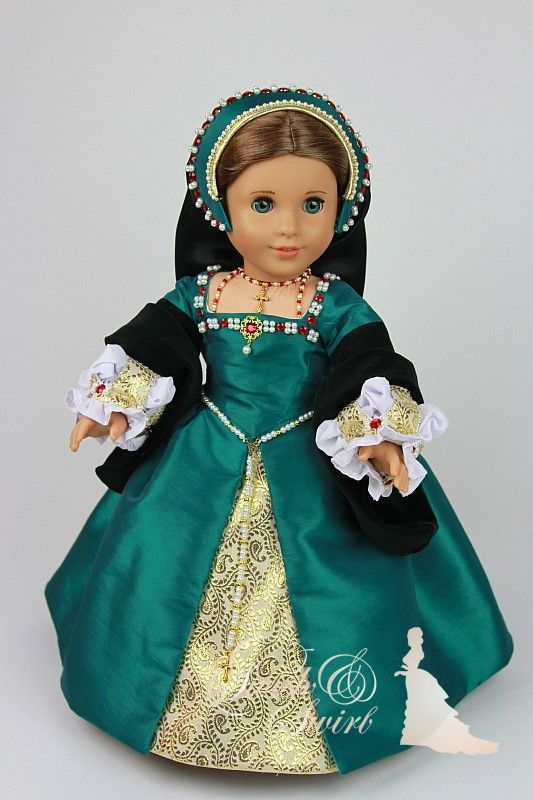 Catherine Howard Teal Tudor gown for standard by SwishAndSwirl