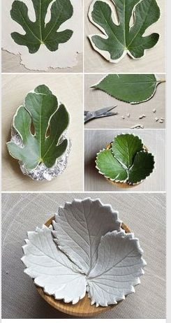 clay leaves - make a bowl out of different leaves / ...