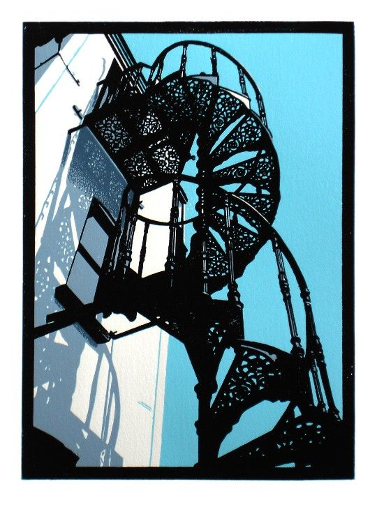 'Spiral Stairs, Aldeburgh Beach' linocut by Graham Spice. http://spicelinoprints.co.uk/ Tags: Linocut, Cut, Print, Linoleum, Lino, Carving, Block, Woodcut, Helen Elstone, Industrial, Staircase
