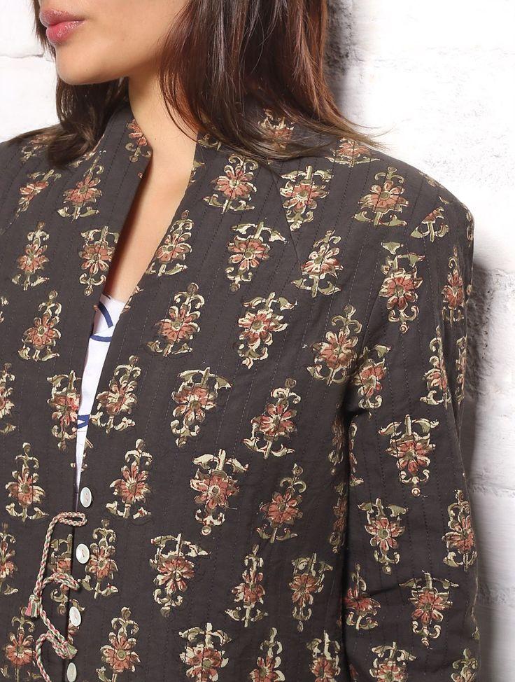 Brown Kalamkari Cotton Quilted Kurta Jacket @Jaypore
