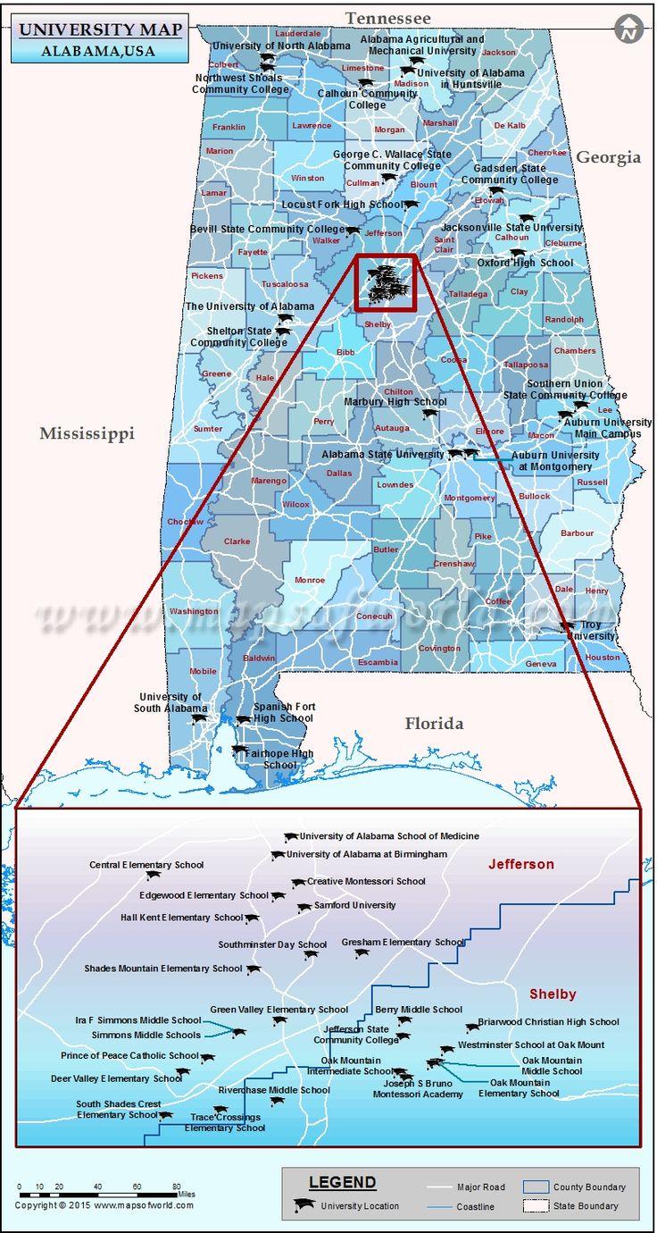 Universities map of alabama usa