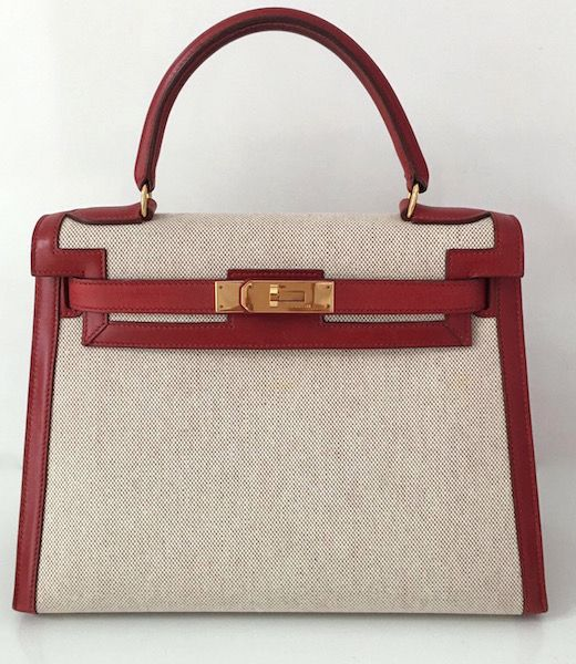 Hermes Kelly 28 Bi-matiere Leather and Canvas | MALLERIES