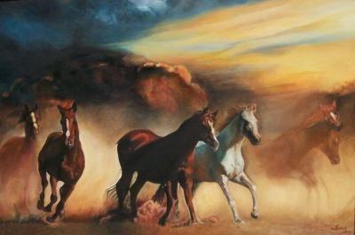 Gün Batarken Koşan Atlar Yağlıboya Tablo