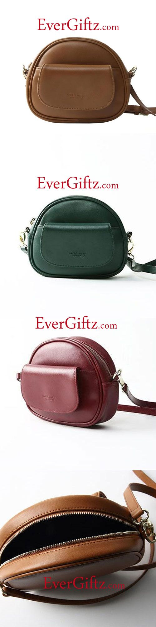 Genuine Leather Handbag Round Circle Bag Women Cute Girl Unique Purse Crossbody Bag Shoulder Bag