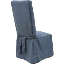 231 Chenille Navy Blue Dining Chair Slipcover With Tie