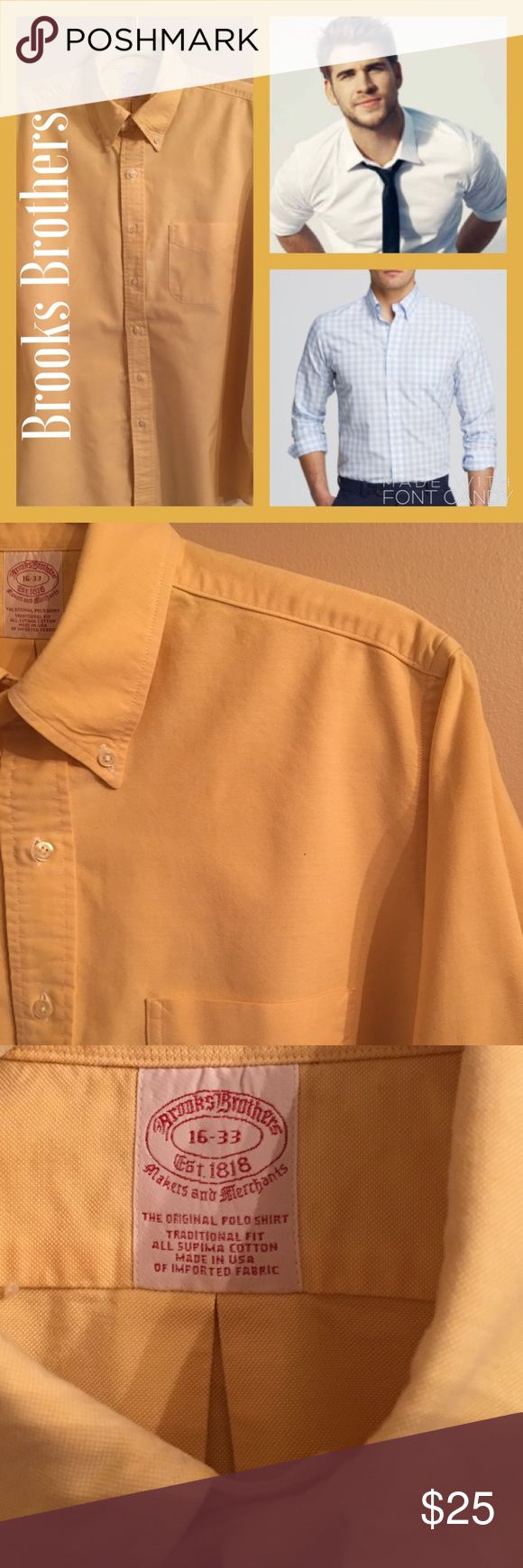 Classic Brooks Brothers Yellow Button Down Shirt Classic Brooks Brothers Yellow Button Down Shirt. High quality shirt. Great condition. No underarm stains or ring around the collar. No fraying or tears. Great shirt. Brooks Brothers Shirts Dress Shirts