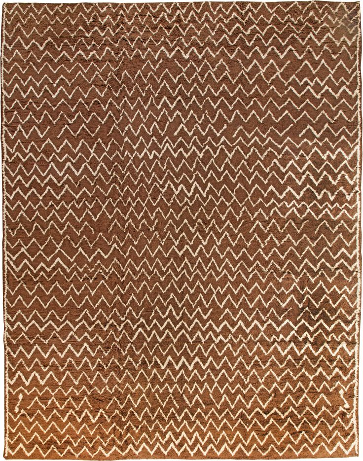 Modern Rugs: Modern Moroccan rug in brown , modern style perfect for modern interior decor, modern living room, geometric pattern rug