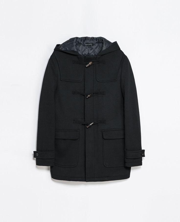 Zara KNIT DUFFLE COAT  Ref. 6861/397  179.00 CAD               OUTER SHELL  58% VISCOSE, 27% POLYESTER, 15% POLYAMIDE  LINING  100% POLYESTER  FILLING  100% POLYESTER