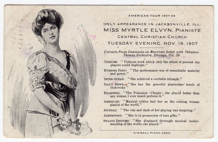 Myrtle Elvyn - Classical Pianist.  Kimball Piano.  American Tour 1907-08.