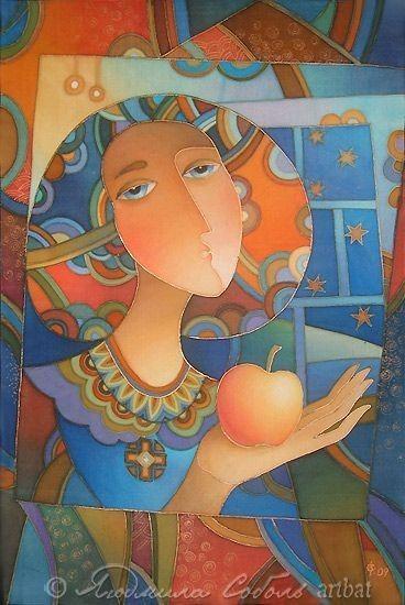 """Фантазийные сюжеты ручной работы. Ярмарка Мастеров - ручная работа Батик """"Девушка с яблоком"""". Handmade."""