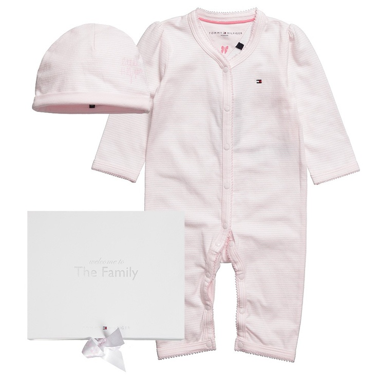 163 50 Tommy Hilfiger Baby Girls Pink Hat And Romper Set