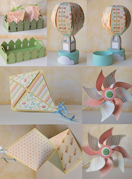 paper picket fence container, paper balloon, paper kite, paper pinwheel in spring colors.(colores de primavera)