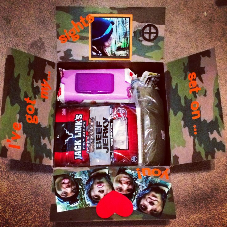 Hunting Themed Care Package I Filled It With Some Things