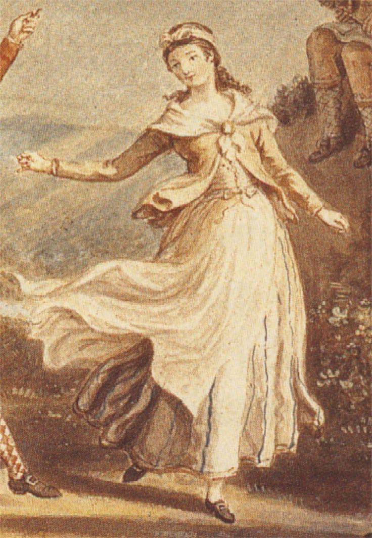 "Another girl from the ""Highland Dance"":  She is wearing a white petticoat with thin blue stripes, an apron, a tobacco brown shortgown or jacket, a neckerchief, possibly fastened with a round brooch, and what is probably a vest."