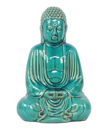 Take a look at this Turquoise Sitting Buddha Figurine by Urban Trends Collection on #zulily today!