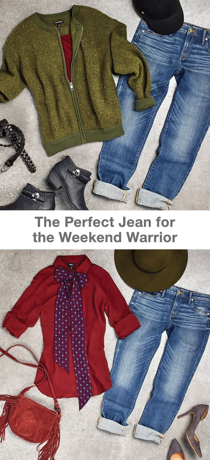 While it might be a cozy weekend staple, the boyfriend jean is actually one of the most versatile denim cuts. Pair it with a zip up sweater to run weekend morning errands, and make your jeans tomboy chic for brunch with pointed toe heels and a super feminine blouse. And don't worry about hat head -- you can trade your baseball cap for a wide brim hat for a Sunday look you can throw on and go, wherever your destination.... - Street Fashion