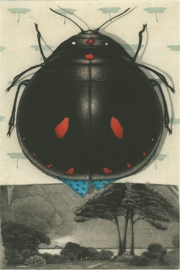 Michel Estebe Title Petit Insecte Noir et son Habitat Medium Color mezzotint Date 2009