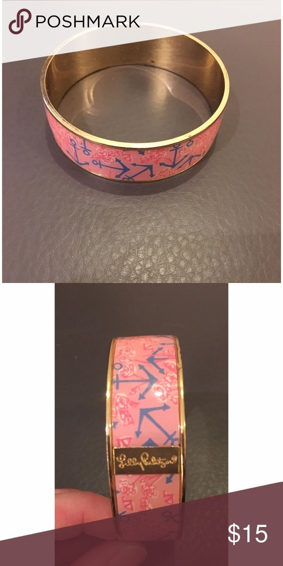 Lilly Pulitzer Delta Gamma cuff Pink enamel cuff with blue anchor and pink rose and delta gamma symbol print. A little tarnishing on the inside but not noticeable. Lilly Pulitzer Jewelry Bracelets