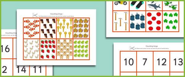 math bingo for Kinders