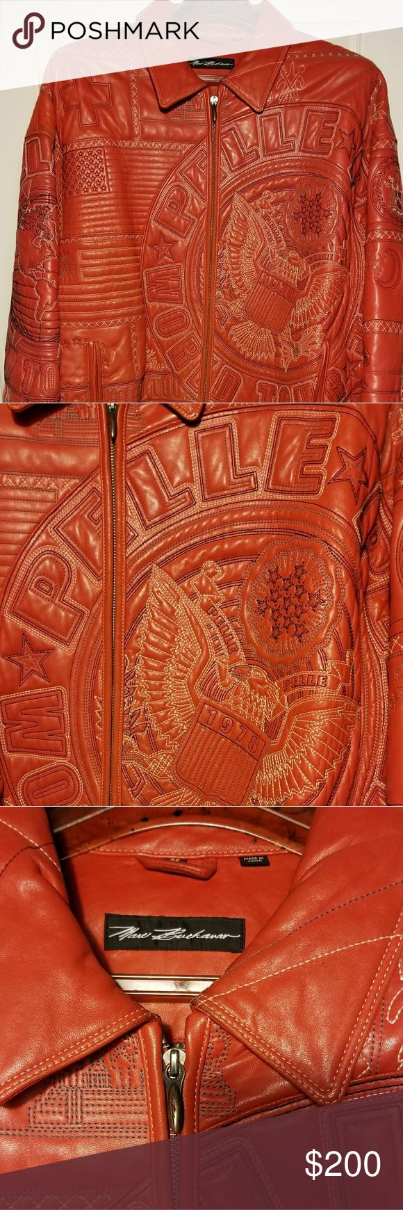 *Vintage* Red Stitched Leather Pelle Pelle  Red Stitched Leather Pelle Pelle in good condition with minor worn marks on the sleeves and pockets. Great Buy!!! Pelle Pelle Jackets & Coats