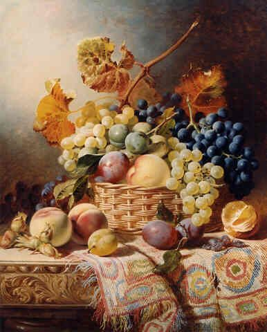 У. Даффилд. Натюрморт с корзиной фруктов и ковриком на столе