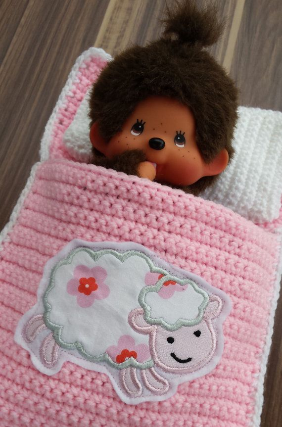 Doll's bed Sleeping bag for Monchichi by Wollsinfonie on Etsy