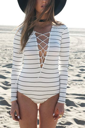 White Stripe Long Sleeve Lace-up Bodysuit from mobile - US$13.95 -YOINS