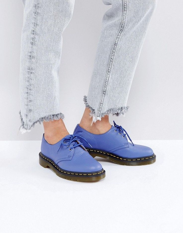 Get this Dr Martens's cowboy boots now! Click for more details. Worldwide shipping. Dr Martens 1461 leather Lace Up Flat Shoe - Blue: Shoes by Dr Martens, Leather upper, Lace-up fastening, Round toe, Low heel, Treat with a leather protector, 100% Real Leather Upper. From working class essential to counter-culture icon, Dr Martens' boots and shoes define generations of rebel style. With classic yellow welt stitching and an air cushioned sole, anti-fashion was indentified in eight holes of Dr…