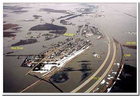 1997 Flood of the century, Red River basin, south of Winnipeg, Manitoba Canada