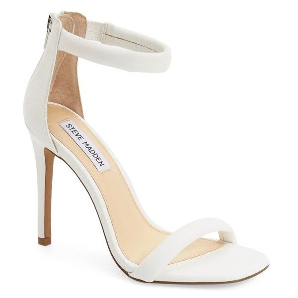"Steve Madden 'Fancier' Ankle Strap Sandal, 4"" heel ($80) ❤ liked on Polyvore featuring shoes, sandals, heels, white, strappy sandals, white heeled sandals, high heel sandals, white strappy sandals and white sandals"