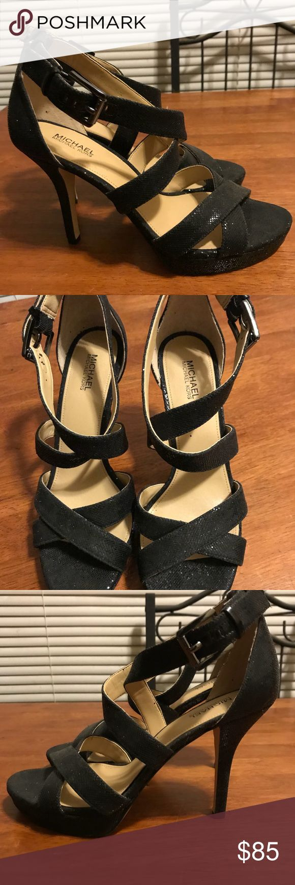 Michael Kors Evie Heels, Black Glitter Michael Kors, Heel: 4.00 inches, Material: Synthetic, Color: Black Glitter Toe-Shape: Round Toe Worn once only. Excellent Condition. No box. MICHAEL Michael Kors Shoes Heels
