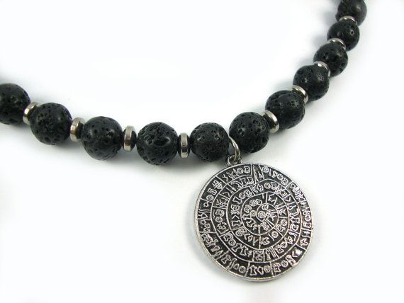 FREE SHIPPING Santorini Greek Natural Black Volcanic Lava 10 mm - Hematite Spacers - Metal Phaistos Disc Necklace on Etsy, 39,00€