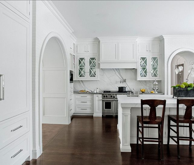Calacatta Marble Kitchen: Custom Kitchen Ideas. Custom Built Arch Ways, Glass Upper