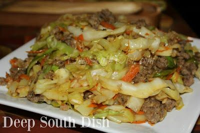 Stir Fried Cabbage Bowl - a simple stir fry of ground pork, turkey or beef, cabbage and rice. It's quick, easy and delicious!
