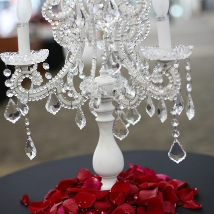 Tabletop Chandelier with rose petals