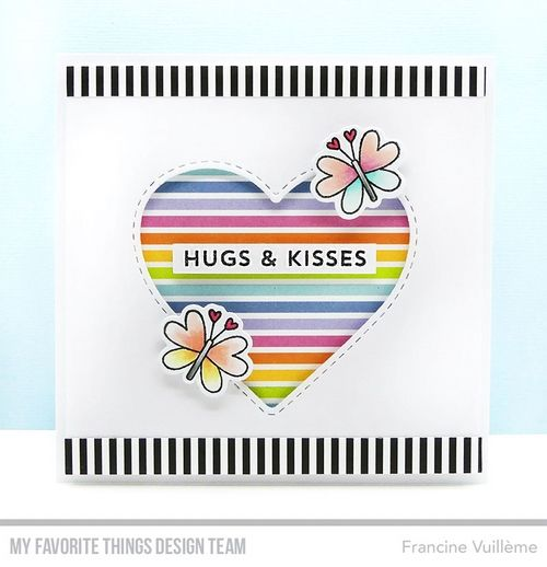 Card by Francine (www.1001cartes.ch) karte, carte, carterie, cardmaking, cardmaker, crafts, papercrafts, handmade, diy, stamping, #1001cartes, mftstamps, #mftstamps, sending smiles, stitched peek-a-boo heart, rainbow, stripes, butterfiles